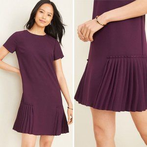 NEW Ann Taylor Pleated Shift Dress In Purple